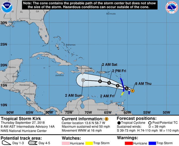 A map made by the National Hurricane Center shows the projected path for Tropical Storm Kirk as of 8 a.m. ET on Sept. 27, 2018.