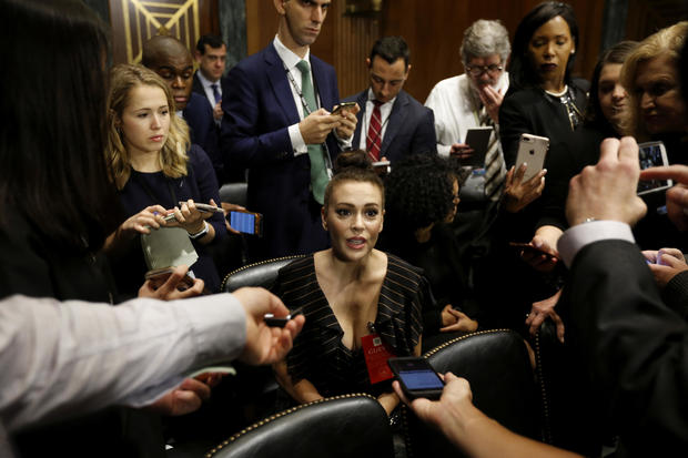 Actress Alyssa Milano is seen ahead of a Senate Judiciary Committee hearing of Dr. Christine Blasey Ford and Brett Kavanaugh at the Capitol Hill in Washington