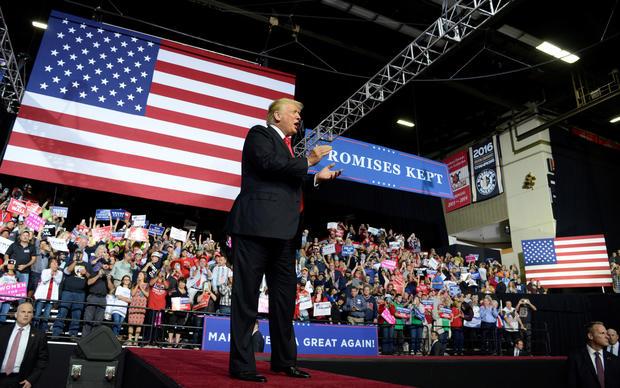 President Trump hosts a Make America Great Again rally in Wheeling, West Virgina