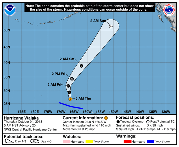 A map from the Central Pacific Hurricane Center shows the projected path of Hurricane Walaka as of 11 a.m. ET on Oct. 4, 2018.