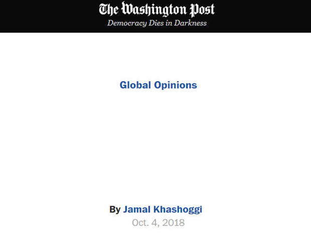 Washington Post prints empty column for Saudi journalist missing in Turkey