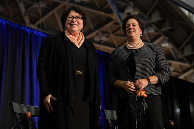 "Associate Justices of the Supreme Court of the U.S. Sonia Sotomayor and Elena Kagan recieve applause during Princeton University's ""She Roars: Celebrating Women at Princeton"" conference in Princeton"