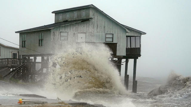 Waves take over a house as Hurricane Michael comes ashore in Alligator Point