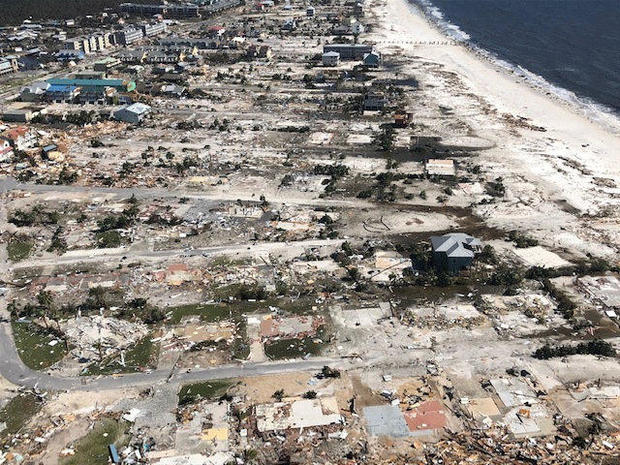 Buildings that were damaged and destroyed by Hurricane Michael are seen in a photograph taken on a U.S. Coast Guard MH-65 helicopter over Mexico Beach, Florida, Oct. 11, 2018.