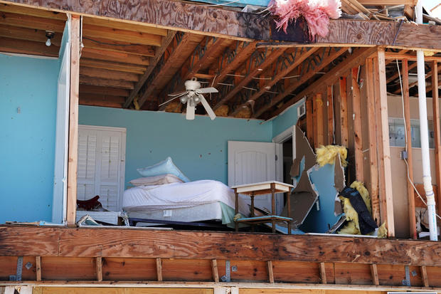 A bedroom of a destroyed house is pictured following Hurricane Michael in Mexico Beach