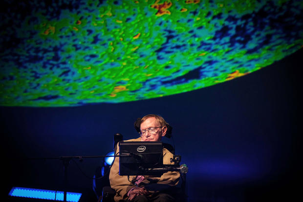British theoretical physicist professor Stephen Hawking gives a lecture during the Starmus Festival on the Spanish Canary Island of Tenerife on Sept. 23, 2014.