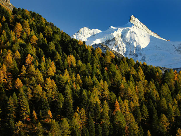 The Zinalrothorn mountain is pictured on a warm autumn day in Val d'Anniviers