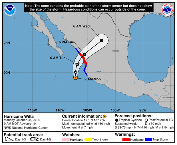 A map made by the U.S. National Hurricane Center shows the projected path for Hurricane Willa as of 11 a.m. ET on Oct. 22, 2018.
