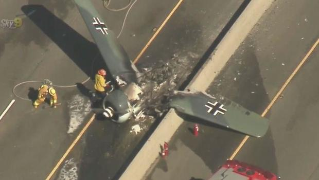 Plane crashes on busy freeway in Southern California