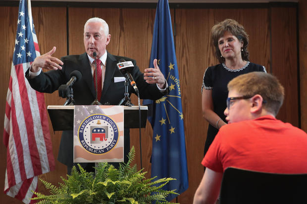 Brother Of Vice President Pence, Congressional Candidate Greg Pence Holds Primary Night Event In Columbus, Indiana