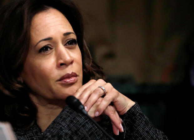 Sen. Kamala Harris, D-California, listens during a Senate Judiciary Committee confirmation hearing with professor Christine Blasey Ford, who accused Supreme Court Justice Brett Kavanaugh of sexually assaulting her in 1982, on Capitol Hill in Washington Sept. 27, 2018.