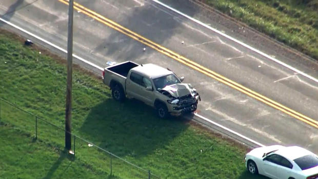 Aerial footage shows a damaged truck after a fatal crash at a school bus stop in Fulton County, Indiana, on Oct. 30, 2018.