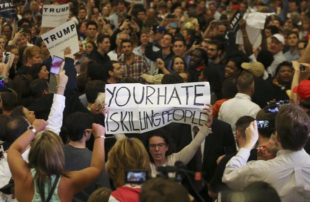 protester at Trump rally
