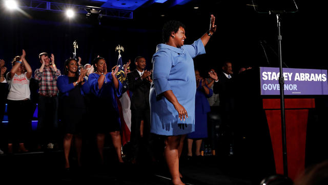 Georgia Democratic gubernatorial nominee Stacey Abrams speaks to supporters during a midterm election night party in Atlanta, Georgia, U.S.