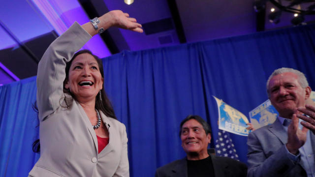 U.S. Democratic Congressional candidate Deb Haaland takes the stage after winning her midterm election in Albuquerque