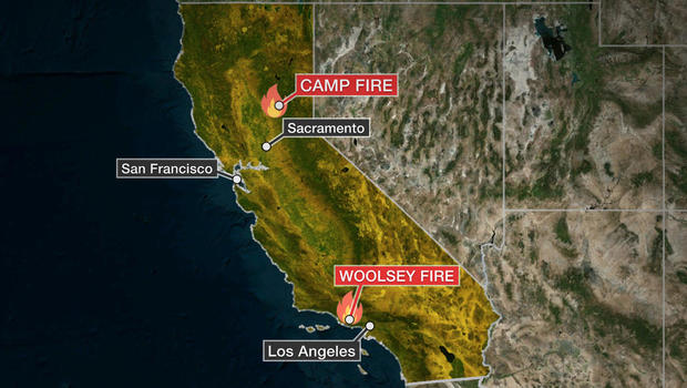 A map shows where two major fires are burning in California.