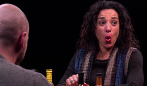 "Michelle Miller sits in the ""Hot Ones"" hot seat"
