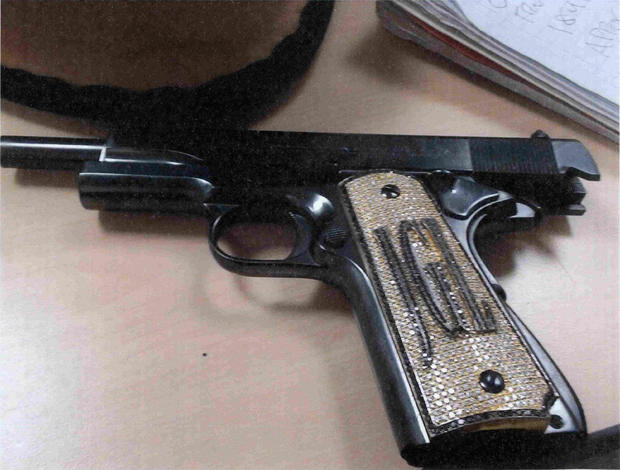 "A diamond-encrusted pistol that government witness Jesus Zambada said belonged to the accused Mexican drug lord Joaquin ""El Chapo"" Guzman"
