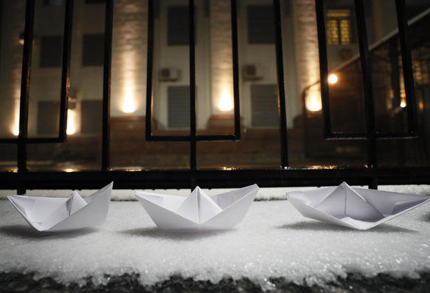 Paper boats protests — Russian embassy in Kiev