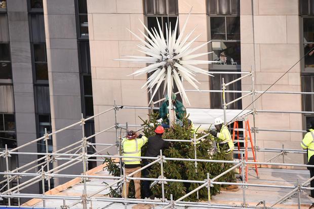 Nadja Swarovski And Daniel Libeskind Unveil The 2018 Swarovski Star In Rockefeller Center