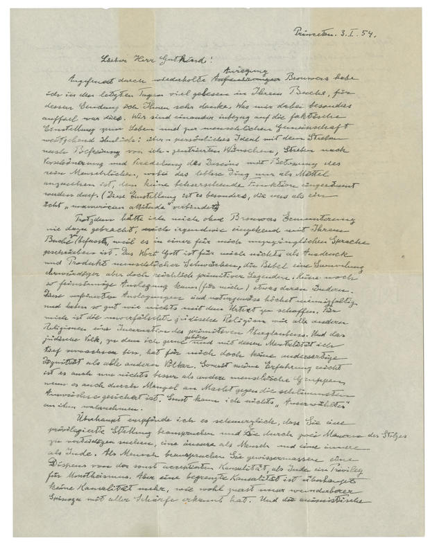 Einstein letter doubting God auctioned for $2.9m in NY