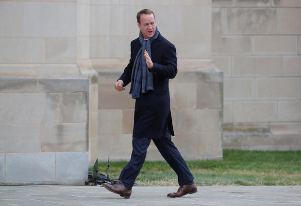 Former NFL quarterback Manning arrives for funeral of former U.S. President George H.W. Bush at Washington National Cathedral