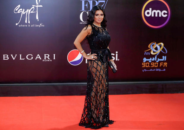 Egyptian actress Rania Youssef poses on the red carpet at the closing ceremony of the 40th edition of the Cairo International Film Festival at the Cairo Opera House in the Egyptian capital on Nov. 29, 2018.