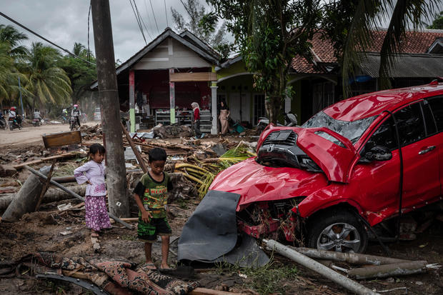 Tsunami slams Indonesia