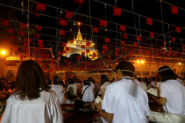Thais pray to celebrate the New Year 2019 at the Golden Mountain temple or Wat Saket in Bangkok