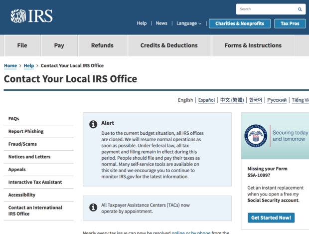 IRS during shutdown: The government shutdown is about to