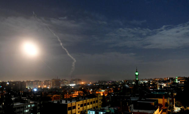 Missile fire is seen over Damascus