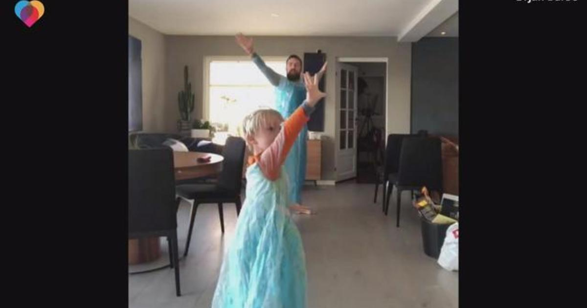 Let It Go Dad And 4 Year Old Son Wear Frozen Dresses Dance In