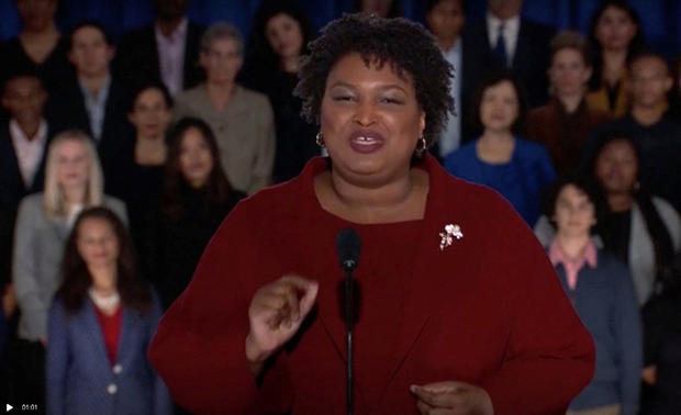 Former Georgia gubernatorial candidate Stacey Abrams delivers the Democratic response to the U.S. President Donald Trump's State of the Union address in this still frame taken from video, in Washington