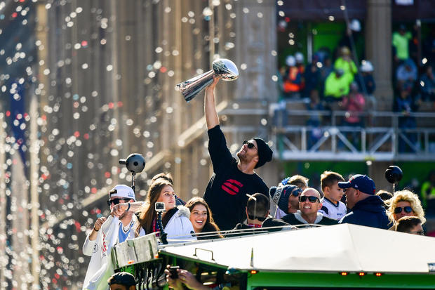 1f3b9f88 Patriots parade today: The New England Patriots celebrate 6th Super Bowl  win with a Duck Boat parade through streets of Boston — live updates - CBS  News