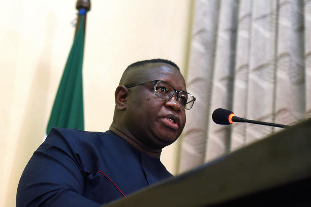 Sierra Leone's President Julius Maada Bio addresses the audience during an event in which he declared national emergency on rape and sexual violence, in Freetown