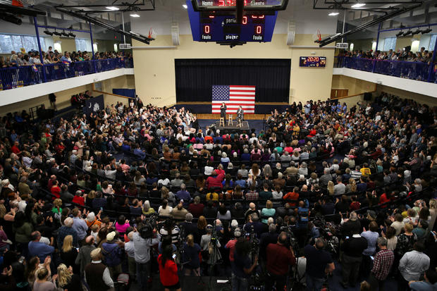 U.S. Senator and Democratic presidential hopeful Kamala Harris campaigns at a town hall meeting in Charleston