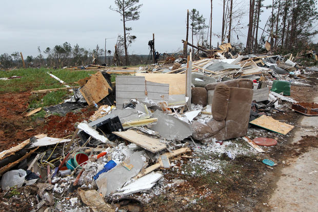 Damage is seen from a tornado which killed at least 23 people in Beauregard, Alabama, on March 4, 2019.