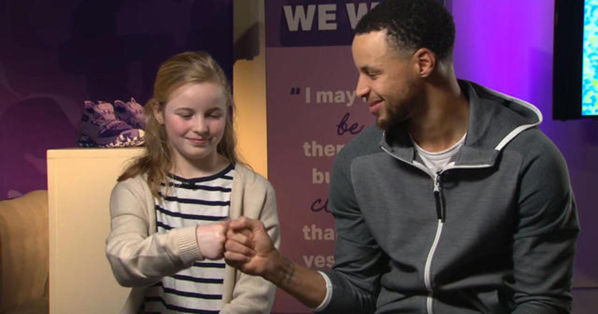 fb9716c5b9c Steph Curry surprises 9-year-old who asked why his shoes weren t sold to  girls - CBS News