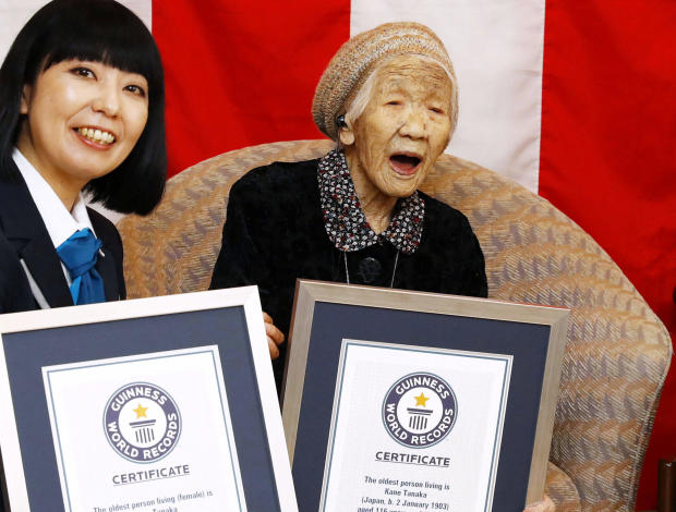 116-year-old Japanese woman Kane Tanaka celebrates during a ceremony to recognise her as the world's oldest person living and world's oldest woman living by the Guinness World Records in Fukuoka