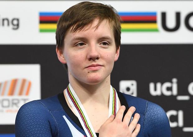 CYCLING-NED-UCI-WORLD-TRACK-WOMEN-PURSUIT-PODIUM