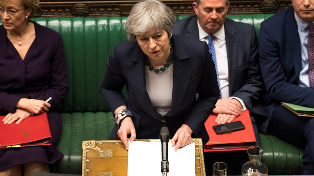 Britain's Prime Minister Theresa May speaks in Parliament following the vote on Brexit in London