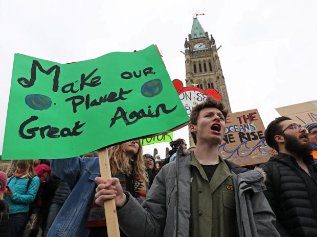 Students hold a protest against climate change on Parliament Hill in Ottawa