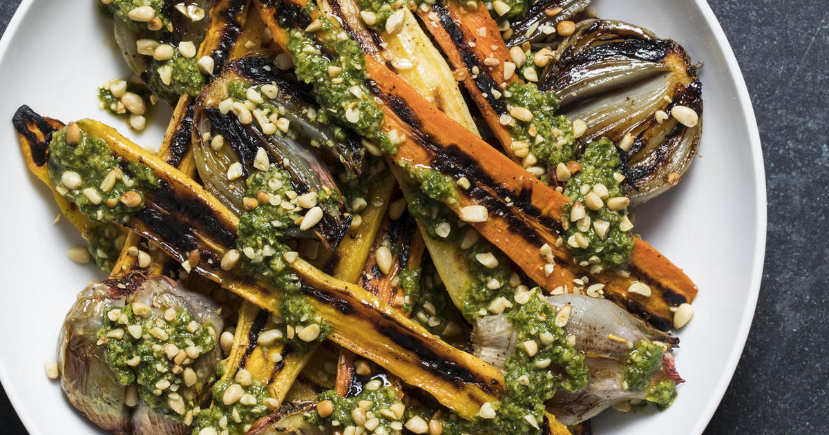 Recipe: Roasted Carrots and Shallots with Chermoula, from