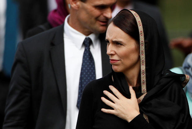 New Zealand's Prime Minister Jacinda Ardern leaves after the Friday prayers at Hagley Park outside Al-Noor mosque in Christchurch