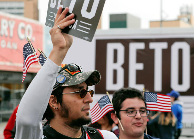Supporters of Democratic 2020 U.S. presidential candidate Beto O'Rourke are seen ahead of his kickoff rally on the streets of El Paso