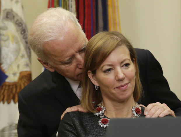 United States Vice President Biden talks to Stephanie Carter, wife of new US Secretary of Defense in Washington