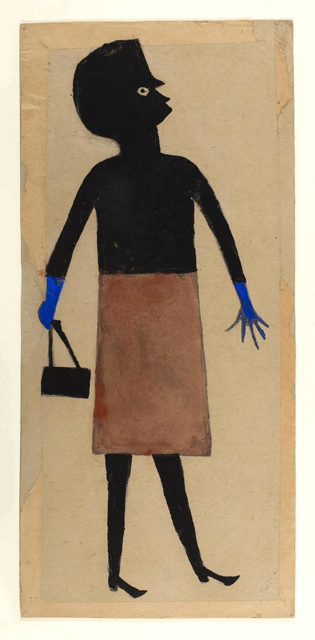 bill-traylor-gallery-woman-blue-gloves-brown-skirt.jpg