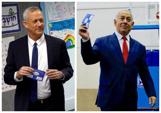 A combination picture shows Benny Gantz (left), leader of Blue and White party voting at a polling station in Rosh Ha'ayin and Israel's Prime Minister Benjamin Netanyahu voting at a polling station in Jerusalem during Israel's parliamentary election