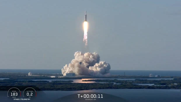 SpaceX's Falcon Heavy rocket takes off for first commercial flight
