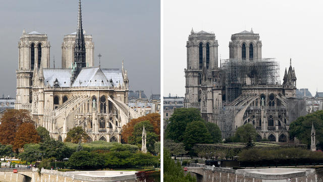A combination picture shows views of Notre Dame Cathedral before, left, and after a massive fire devastated large parts of the Gothic structure in Paris, France, April 16, 2019.